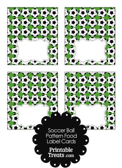 Green Soccer Ball Pattern Food Labels from PrintableTreats.com