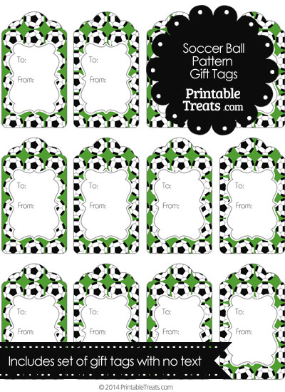 Green Soccer Ball Pattern Gift Tags from PrintableTreats.com
