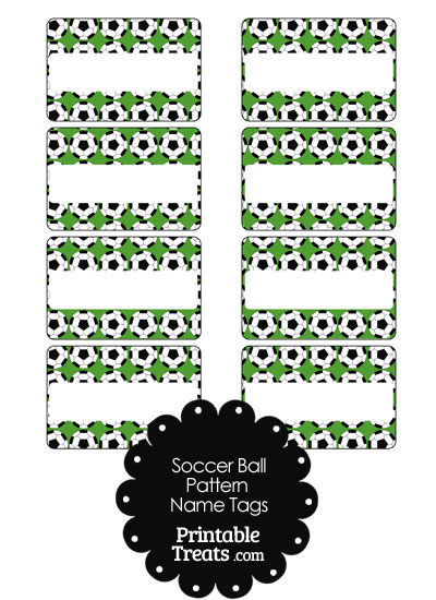 Green Soccer Ball Pattern Name Tags from PrintableTreats.com