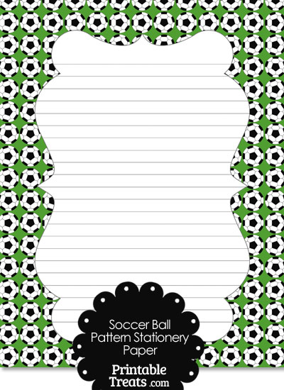 Green Soccer Ball Pattern Stationery Paper from PrintableTreats.com