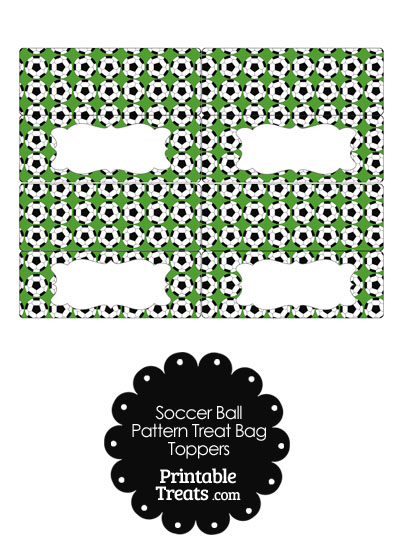 Green Soccer Ball Pattern Treat Bag Toppers from PrintableTreats.com