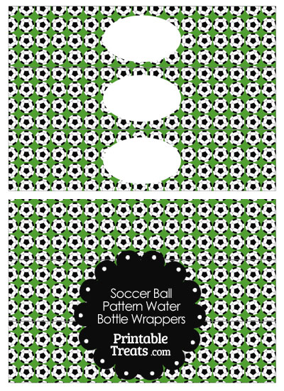 Green Soccer Ball Pattern Water Bottle Wrappers from PrintableTreats.com