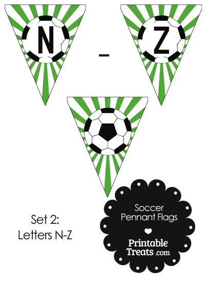 Green Soccer Party Flag Letters N-Z from PrintableTreats.com