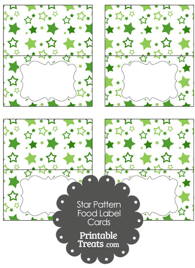 Green Star Pattern Food Labels from PrintableTreats.com