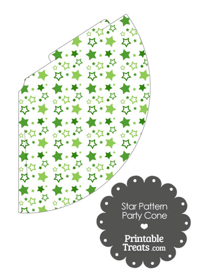 Green Star Pattern Party Cone from PrintableTreats.com