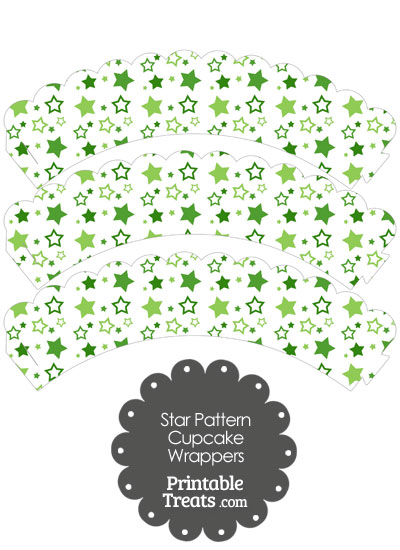 Green Star Pattern Scalloped Cupcake Wrappers from PrintableTreats.com