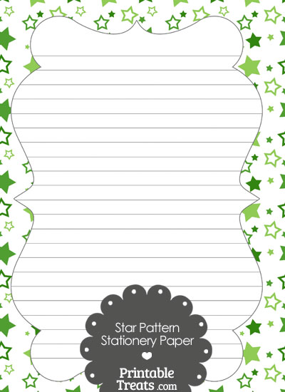 Green Star Pattern Stationery Paper from PrintableTreats.com