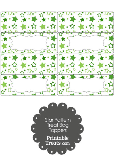 Green Star Pattern Treat Bag Toppers from PrintableTreats.com