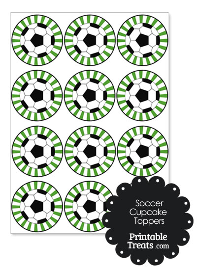 Green Sunburst Soccer Cupcake Toppers from PrintableTreats.com