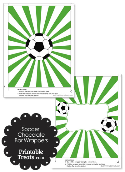 Green Sunburst Soccer Party Candy Wrappers from PrintableTreats.com
