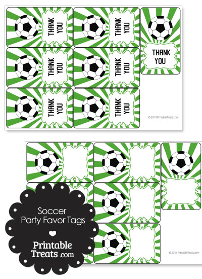 Green Sunburst Soccer Party Favor Tags from PrintableTreats.com