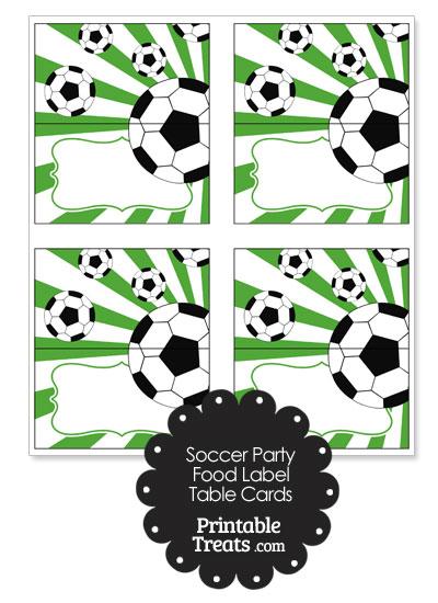 Green Sunburst Soccer Party Food Labels from PrintableTreats.com