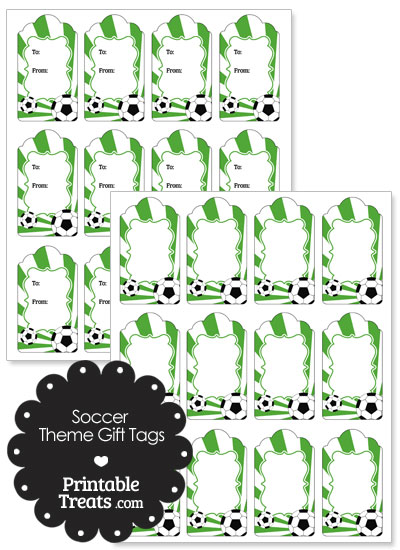 Green Sunburst Soccer Paper Gift Tags from PrintableTreats.com