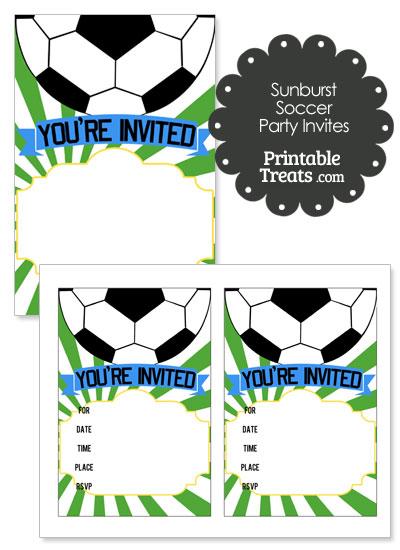 Green Sunburst Soccer Party Invites from PrintableTreats.com
