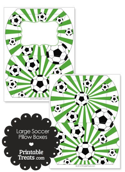 Green Sunburst Soccer Party Large Pillow Boxes from PrintableTreats.com