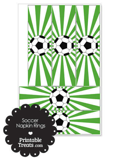 Green Sunburst Soccer Party Napkin Rings from PrintableTreats.com