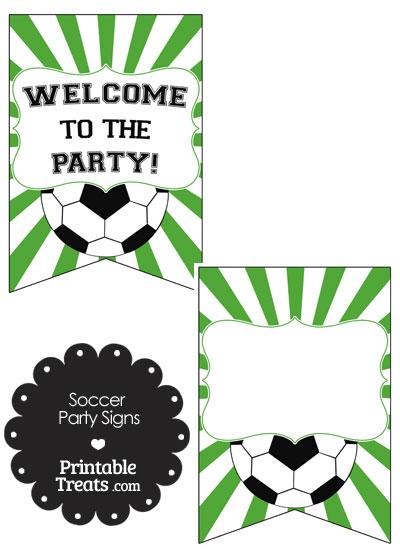 Green Sunburst Soccer Party Signs from PrintableTreats.com