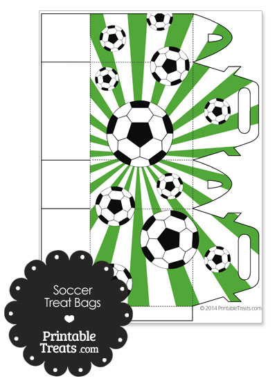 Green Sunburst Soccer Party Treat Bags from PrintableTreats.com
