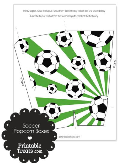 Green Sunburst Soccer Popcorn Boxes from PrintableTreats.com