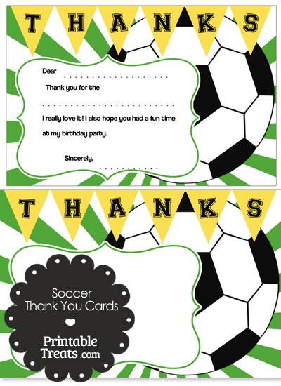 Green Sunburst Soccer Thank You Cards from PrintableTreats.com