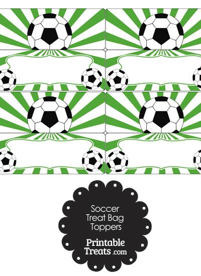 Green Sunburst Soccer Treat Bag Toppers from PrintableTreats.com
