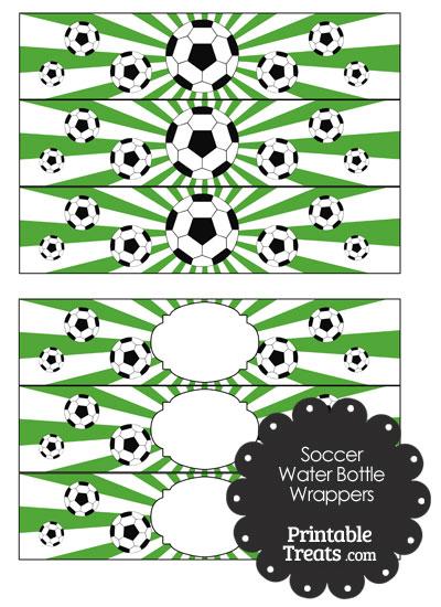 Green Sunburst Soccer Water Bottle Wrappers from PrintableTreats.com