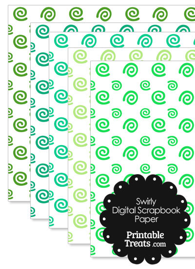 Green Swirls Digital Scrapbook Paper from PrintableTreats.com