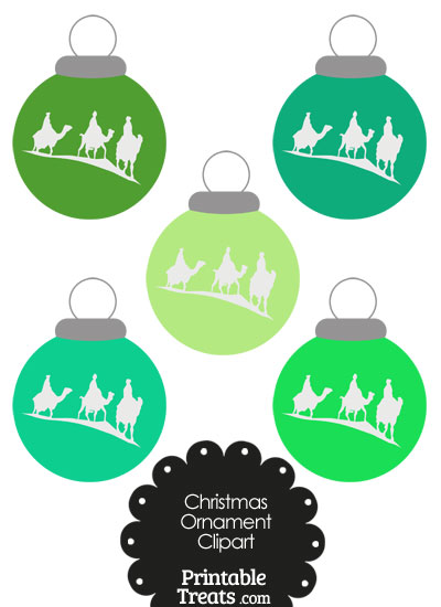 Green Three Wise Men Christmas Ornament Clipart from PrintableTreats.com