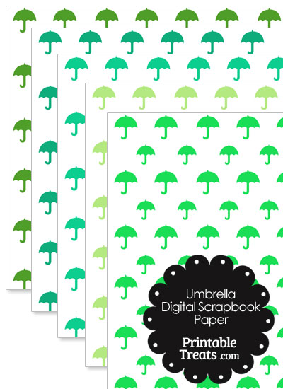 Green Umbrella Digital Scrapbook Paper from PrintableTreats.com