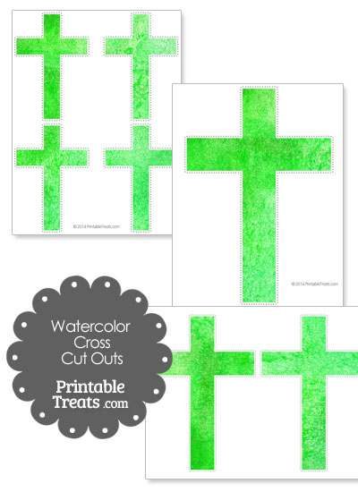 Green Watercolor Cross Cut Outs from PrintableTreats.com