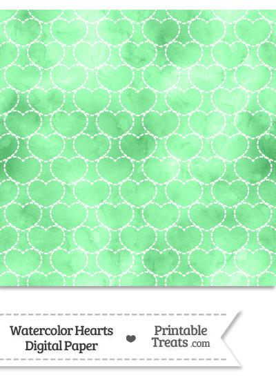 Green Watercolor Hearts Digital Scrapbook Paper from PrintableTreats.com