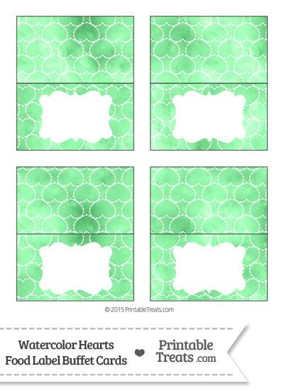 Green Watercolor Hearts Food Labels from PrintableTreats.com