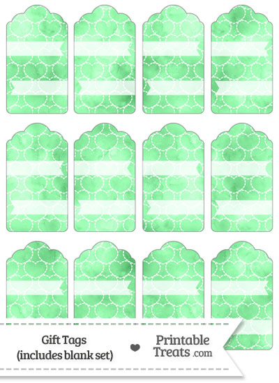 Green Watercolor Hearts Gift Tags from PrintableTreats.com