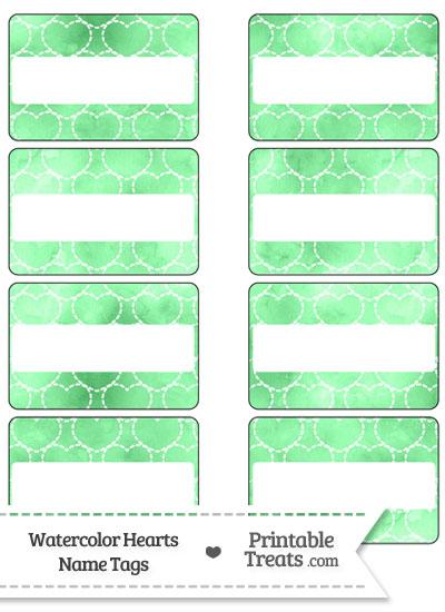 Green Watercolor Hearts Name Tags from PrintableTreats.com
