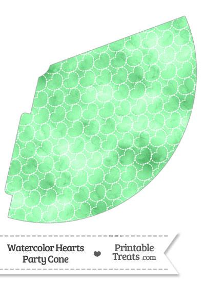 Green Watercolor Hearts Party Cone from PrintableTreats.com