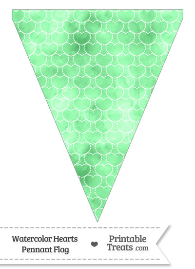 Green Watercolor Hearts Pennant Banner Flag from PrintableTreats.com