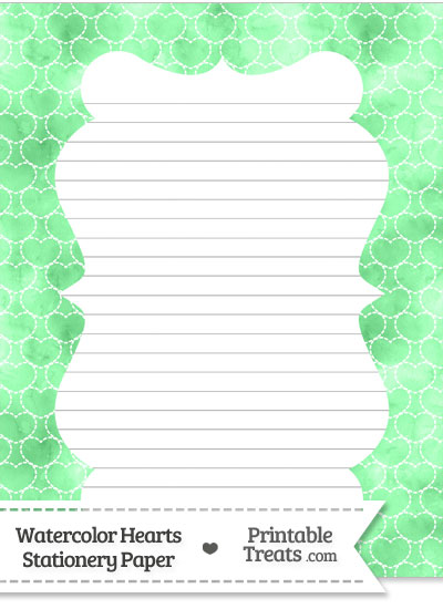 Green Watercolor Hearts Stationery Paper from PrintableTreats.com
