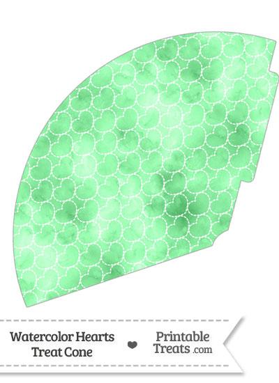 Green Watercolor Hearts Treat Cone from PrintableTreats.com
