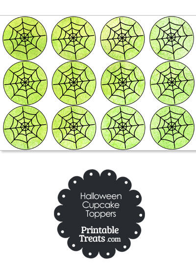 Green Watercolor Spider Web Cupcake Toppers from PrintableTreats.com