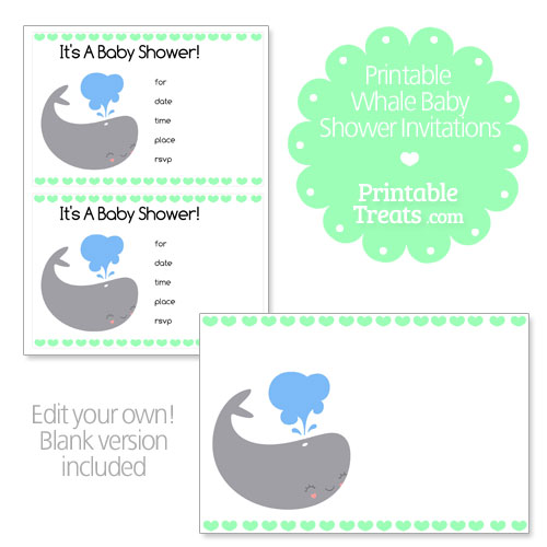 green whale baby shower invitations