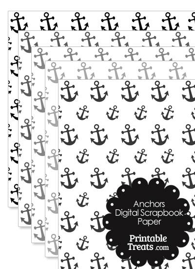 Grey Anchor Digital Scrapbook Paper from PrintableTreats.com