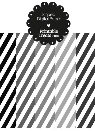 Grey and White Diagonal Striped Digital Scrapbook Paper from PrintableTreats.com