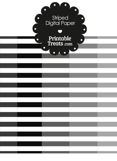 Grey and White Horizontal Striped Digital Scrapbook Paper from PrintableTreats.com