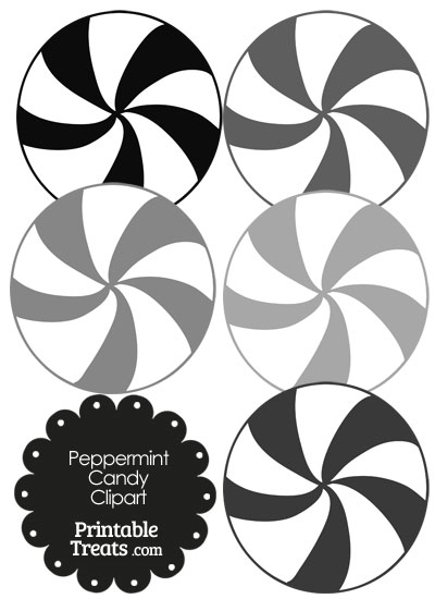 Grey and White Peppermint Candy Clipart from PrintableTreats.com