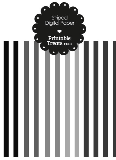 Grey and White Vertical Striped Digital Scrapbook Paper from PrintableTreats.com