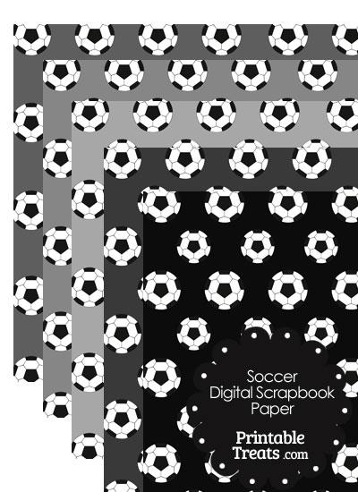 Grey Background Soccer Digital Scrapbook Paper from PrintableTreats.com