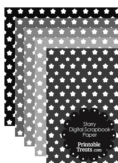 Grey Background Star Digital Scrapbook Paper from PrintableTreats.com