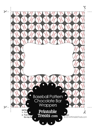 Grey Baseball Pattern Chocolate Bar Wrappers from PrintableTreats.com