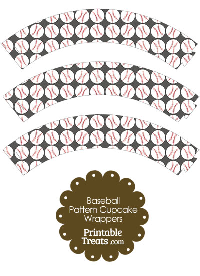 Grey Baseball Pattern Cupcake Wrappers from PrintableTreats.com