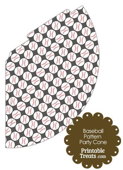 Grey Baseball Pattern Party Cone from PrintableTreats.com